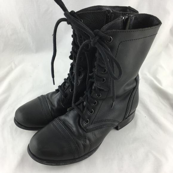 3730023d702 Combat boots black leather zip Steve Madden Troopa